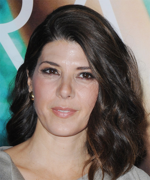 Marisa Tomei Medium Wavy Formal Hairstyle - Dark Brunette Hair Color