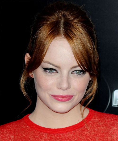 Emma Stone Straight Formal Updo Hairstyle with Layered Bangs - Medium Red (Copper) Hair Color