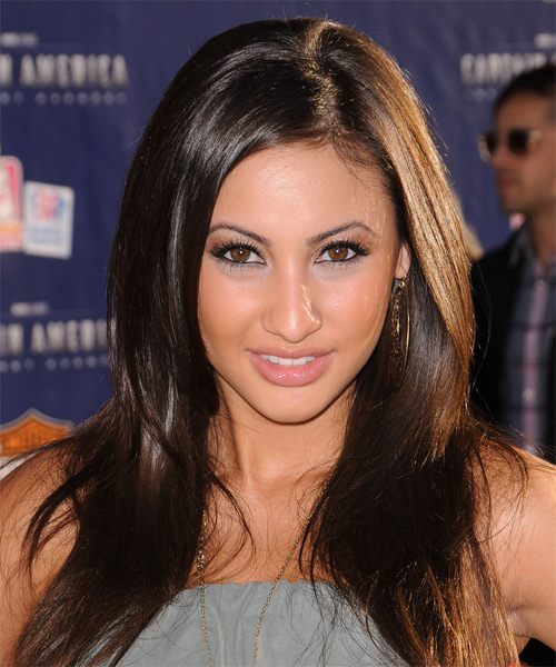 Francia Raisa Long Straight Hairstyle - Dark Brunette (Chocolate)