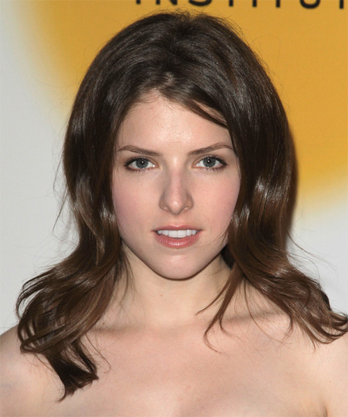 Anna Kendrick Long Straight Casual Hairstyle - Medium Brunette Hair Color