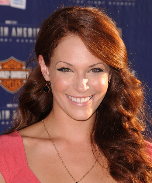 Amanda Righetti Long Wavy Casual Hairstyle - Medium Red Hair Color