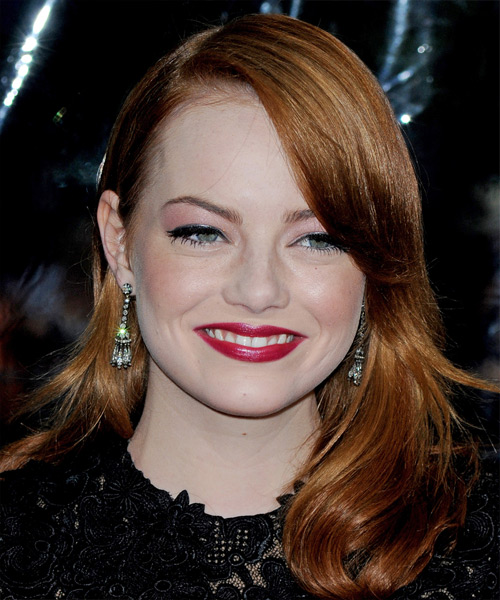 Emma Stone Long Straight Hairstyle - Medium Red (Copper)