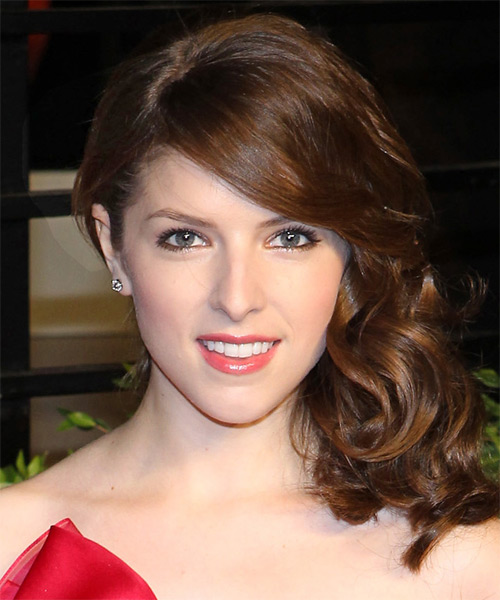 Anna Kendrick Curly Formal Updo Hairstyle with Side Swept Bangs - Medium Brunette (Chocolate) Hair Color
