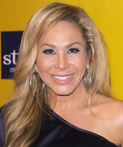 Adrienne Maloof Long Straight Casual  with Side Swept Bangs - Dark Blonde (Caramel)