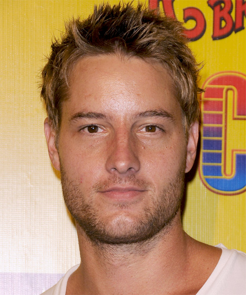 Justin Hartley Short Straight Hairstyle - Dark Blonde