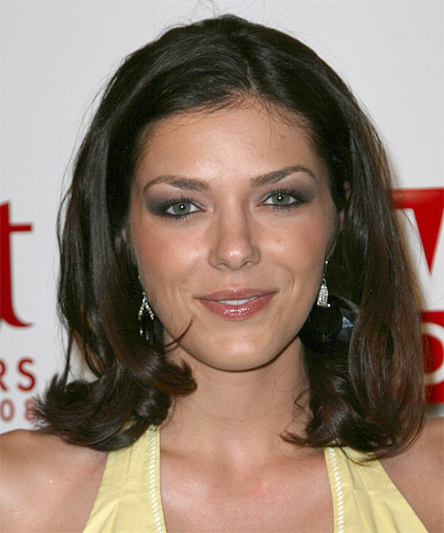 Adrianne Curry Medium Straight Casual Bob Hairstyle - Medium Brunette Hair Color