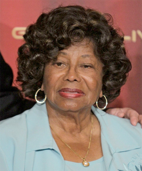 Katherine Jackson Short Curly Formal Hairstyle - Dark Brunette Hair Color
