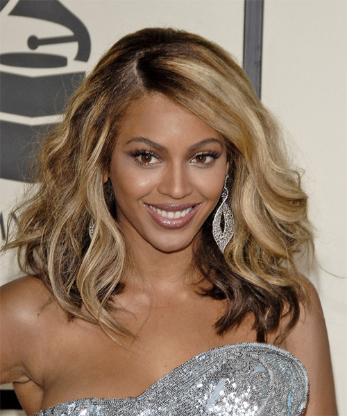 Beyonce Knowles Long Wavy Formal Hairstyle - Medium Brunette Hair Color