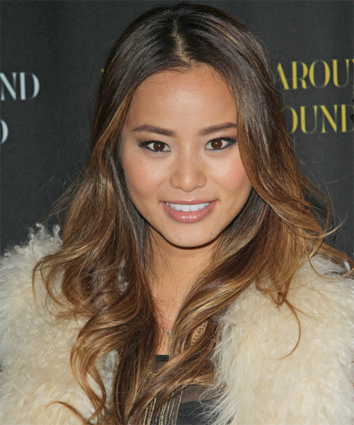 Jamie Chung Long Wavy Casual Hairstyle - Dark Brunette Hair Color