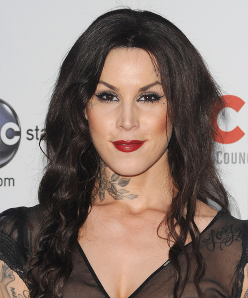 Kat Von D Long Wavy Casual Hairstyle - Dark Brunette Hair Color
