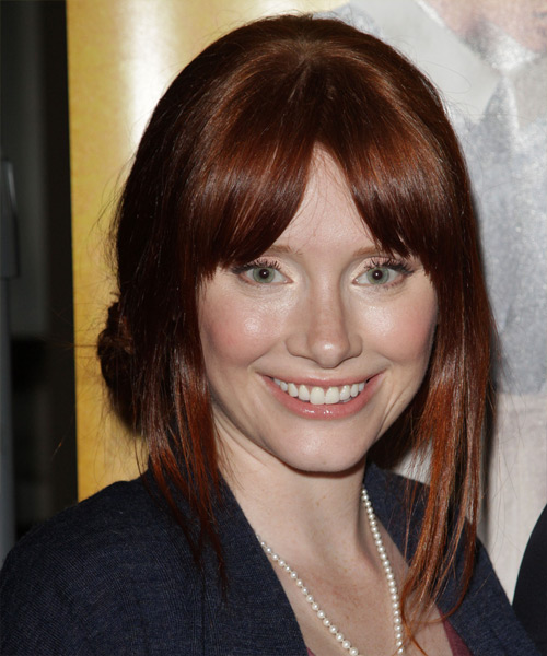 Bryce Dallas Howard Straight Casual Updo Hairstyle with Layered Bangs - Dark Red (Auburn) Hair Color