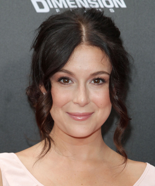Alexa Vega Updo Long Curly Formal Updo Hairstyle - Dark Brunette Hair Color