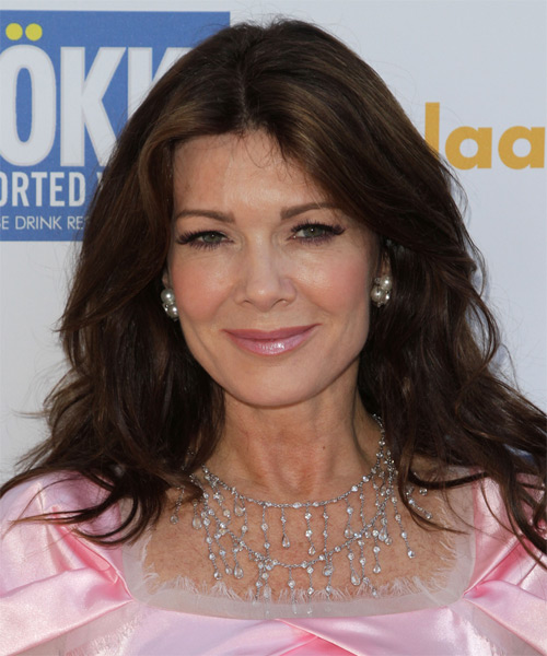 Lisa Vanderpump Long Wavy Casual Hairstyle - Dark Brunette Hair Color
