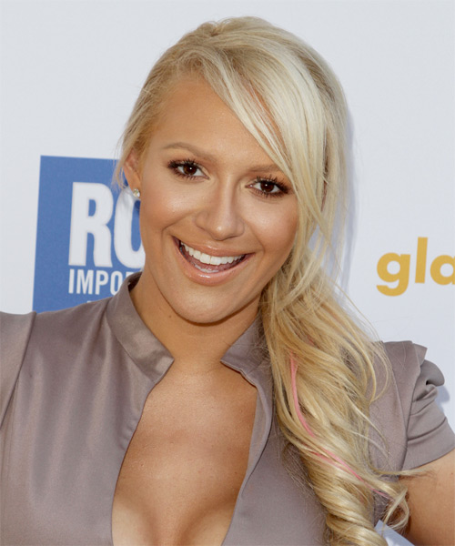 Kaya Jones Curly Casual Half Up Hairstyle with Side Swept Bangs - Light Blonde (Platinum) Hair Color