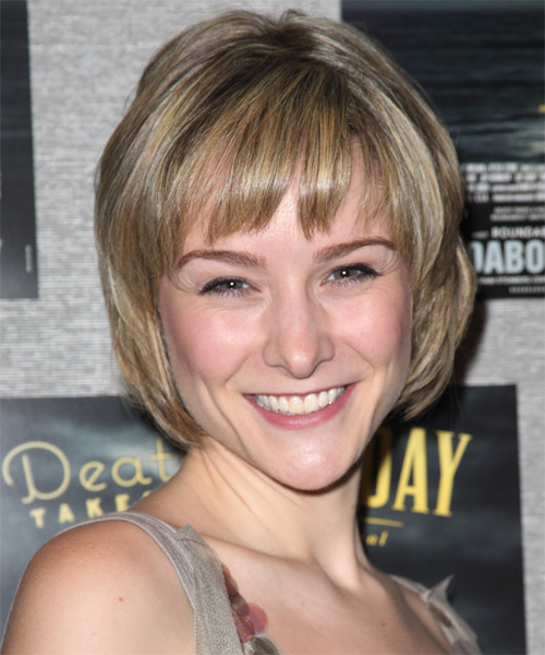 Jill Paice Short Straight Casual Bob Hairstyle with Layered Bangs - Dark Blonde Hair Color