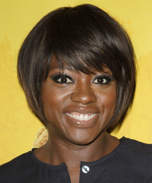 Viola Davis Short Straight Formal Bob Hairstyle with Side Swept Bangs - Dark Brunette Hair Color