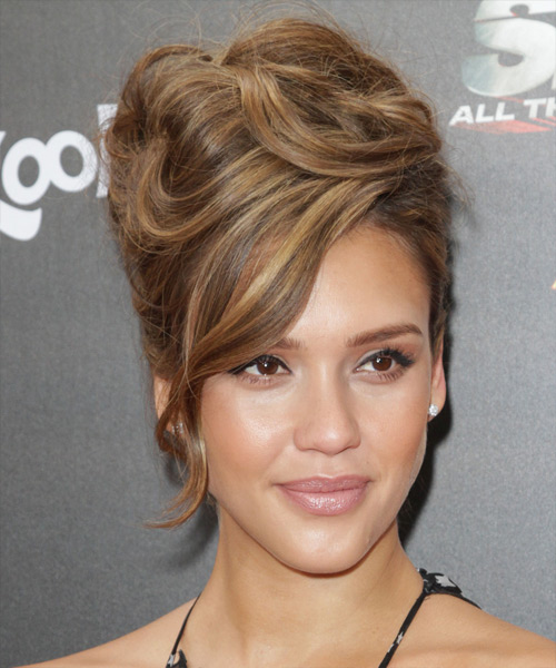 Jessica Alba Curly Formal Updo Hairstyle with Side Swept Bangs - Medium Brunette Hair Color