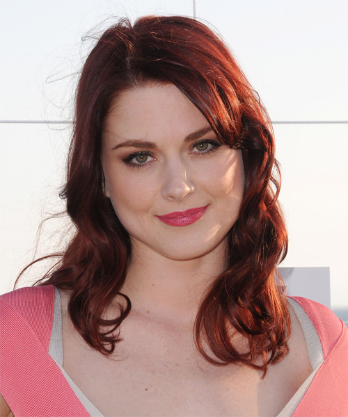 Alex Breckinridge Long Wavy Hairstyle - Dark Red (Bright)