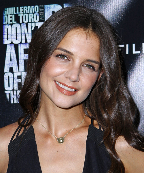 Katie Holmes Long Wavy Casual Hairstyle - Dark Brunette (Chocolate) Hair Color