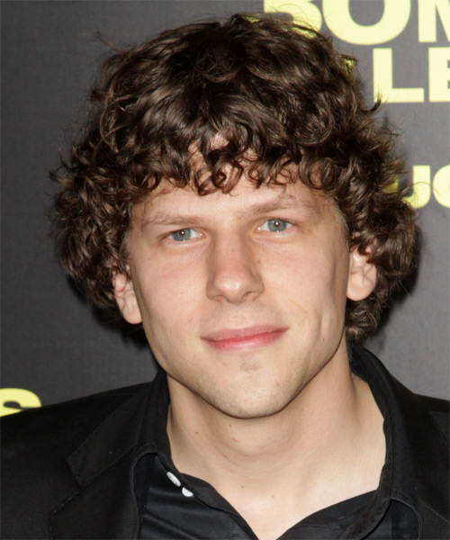 Jessie Eisenberg Medium Curly Casual Hairstyle with Blunt Cut Bangs - Medium Brunette Hair Color
