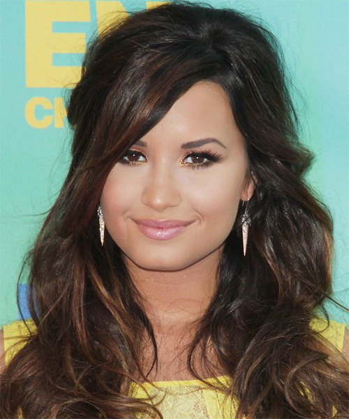 Demi Lovato Curly Casual Half Up Hairstyle with Side Swept Bangs - Dark Brunette Hair Color