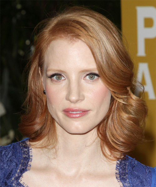 Jessica Chastain Medium Wavy Formal Hairstyle - Light Blonde (Strawberry) Hair Color