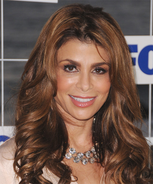 Paula Abdul Long Wavy Formal Hairstyle - Dark Brunette (Auburn) Hair Color