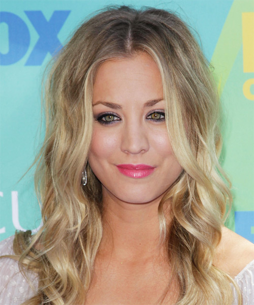 Kaley Cuoco Long Wavy Hairstyle - Medium Blonde (Ash)