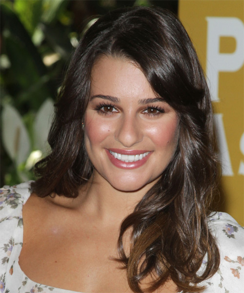 Lea Michele Long Wavy Casual Hairstyle - Dark Brunette Hair Color