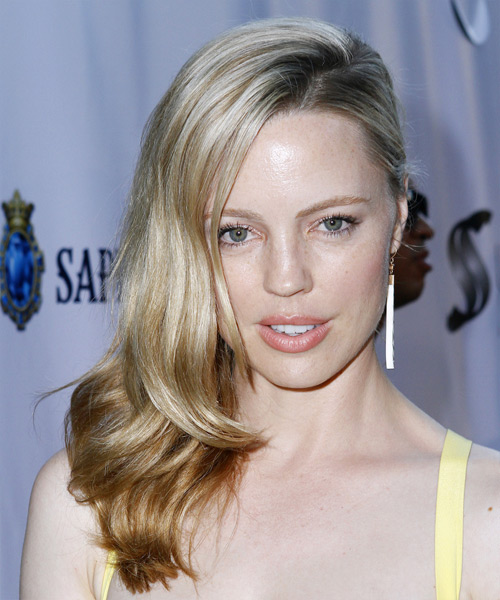 Melissa George Long Straight Formal Hairstyle - Light Blonde (Champagne) Hair Color