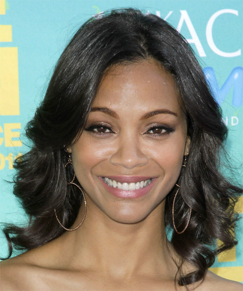 Zoe Saldana Medium Wavy Casual Hairstyle - Black Hair Color