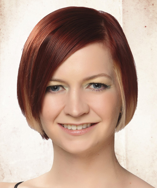 Short Straight Casual Hairstyle - Medium Red (Burgundy) Hair Color