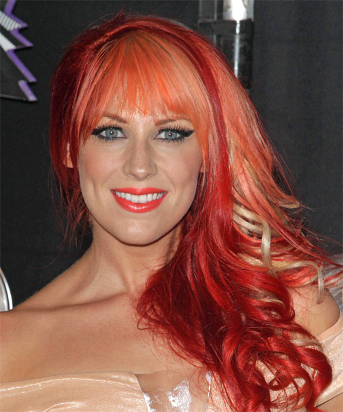 Bonnie McKee Long Wavy Formal Hairstyle with Blunt Cut Bangs - Medium Red Hair Color