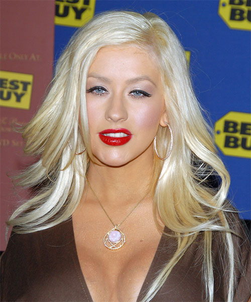 Christina Aguilera Long Straight Alternative Hairstyle - Light Blonde (Platinum) Hair Color