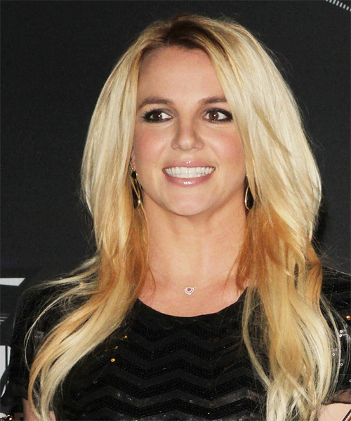 Britney Spears Long Straight Casual Hairstyle - Medium Blonde (Golden) Hair Color