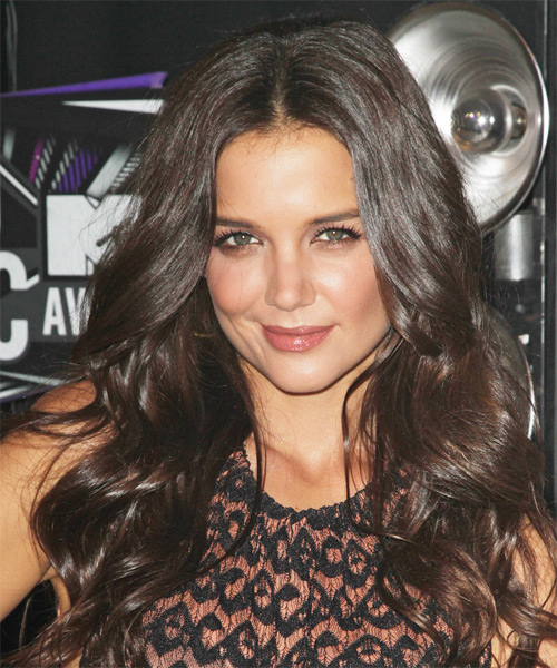Katie Holmes Long Wavy Formal Hairstyle - Dark Brunette (Chocolate) Hair Color