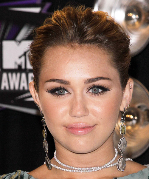 Miley Cyrus Curly Formal Updo Hairstyle - Medium Brunette Hair Color