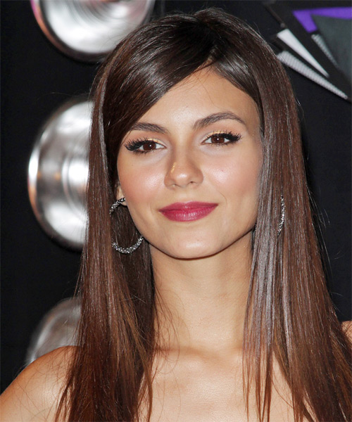 Victoria Justice Long Straight Formal Hairstyle - Light Brunette (Chocolate) Hair Color