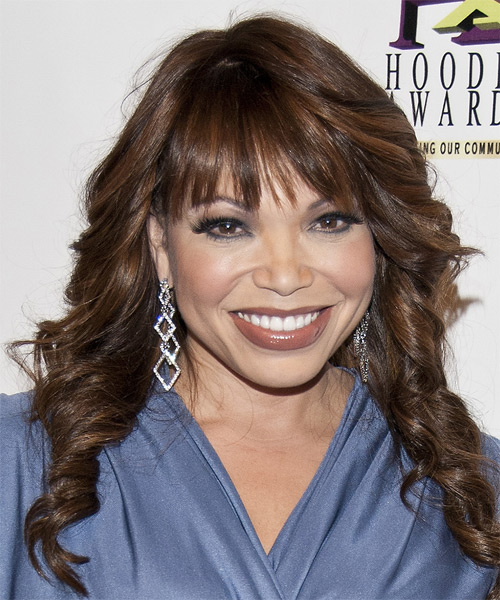 Tisha Campbell Long Wavy Formal Hairstyle with Layered Bangs - Dark Brunette Hair Color