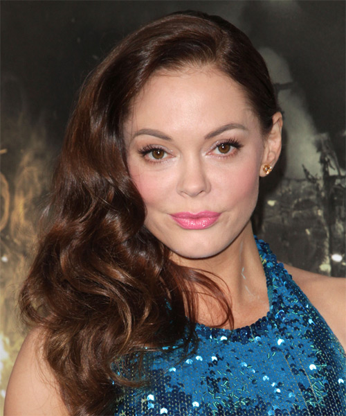 Rose McGowan Long Wavy Hairstyle - Dark Brunette (Chocolate)