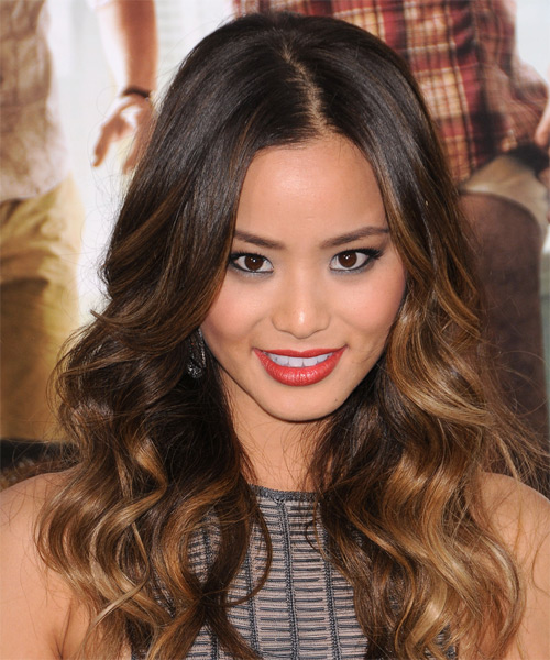 Jamie Chung Long Wavy Formal Hairstyle - Dark Brunette Hair Color