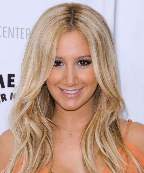Ashley Tisdale Long Straight Casual Hairstyle - Light Blonde (Honey) Hair Color