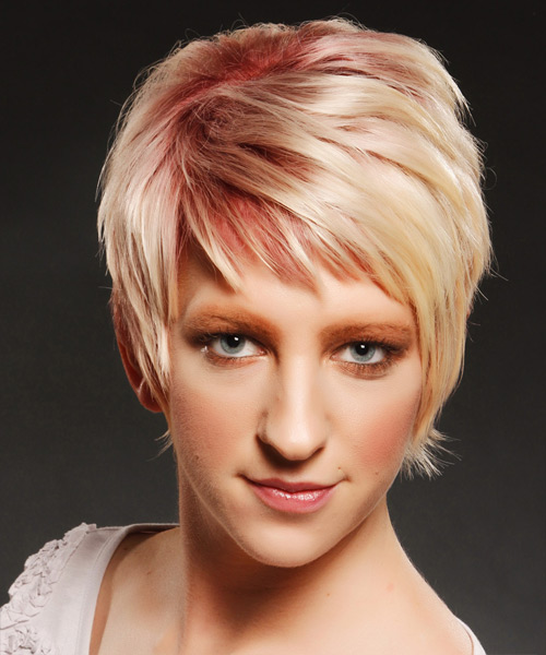 Short Straight Casual Hairstyle with Side Swept Bangs - Light Blonde (Strawberry) Hair Color