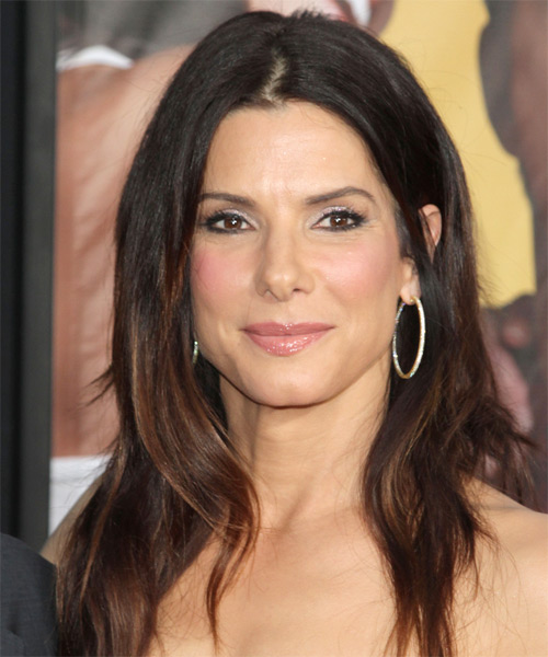 Sandra Bullock Long Straight Casual Hairstyle - Medium Brunette Hair Color