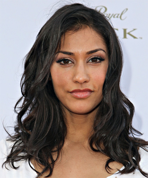 Janina Gavankar Long Wavy Hairstyle - Black