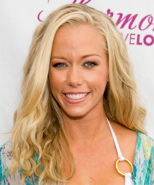 Kendra Wilkinson Long Wavy Casual Hairstyle - Light Blonde Hair Color