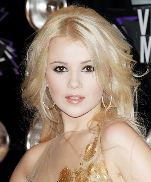 Mika Newton Long Wavy Formal Hairstyle - Light Blonde Hair Color