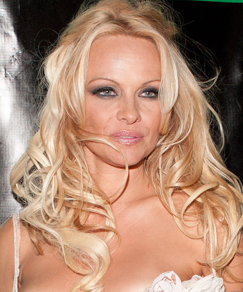 Pamela Anderson Curly Casual Half Up Hairstyle - Light Blonde (Strawberry) Hair Color