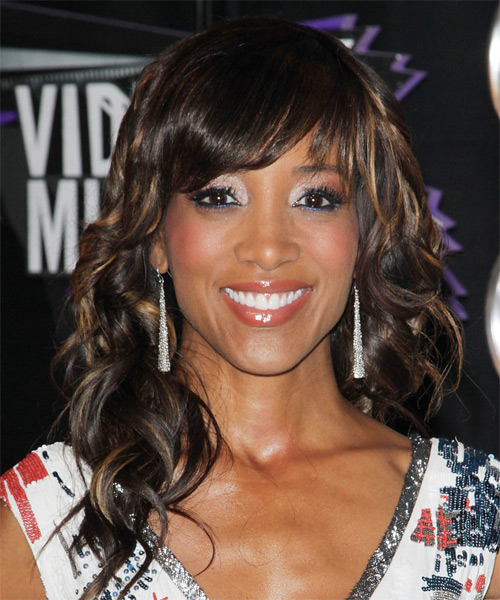 Shaun Robinson Long Wavy Formal Hairstyle with Side Swept Bangs - Dark Brunette Hair Color