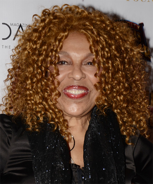 Roberta Flack Medium Curly Casual  - Dark Blonde (Caramel)